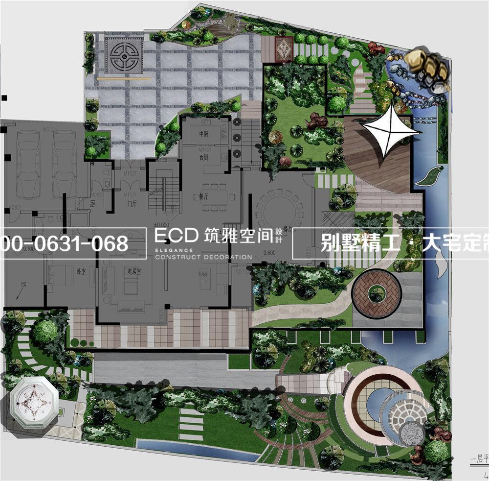 乾和院别墅园林设计中式欧式结合-威海装修公司,威海